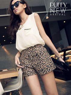 PUFFY  Elastic-Waist Leopard Chiffon Shorts
