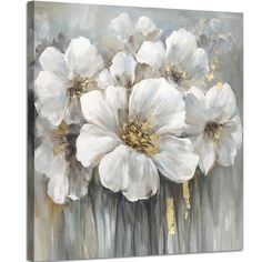 Wall art botanical pictures painting white lily bouquet of flowers oil painting floral artwork print on wrapped canvas for walls Flower Painting Canvas, Oil Painting Flowers, Flower Canvas, Abstract Flowers, Canvas Artwork, Artwork Prints, Painting Prints, Flower Art, Paintings