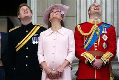 In honor of the 60th anniversary of her coronation, Queen Elizabeth used her magic umbrella to fly over London tossing bangers and mash into the mouths of her loyal subjects. Seen here, the young royals watch Her Majesty soar overhead.