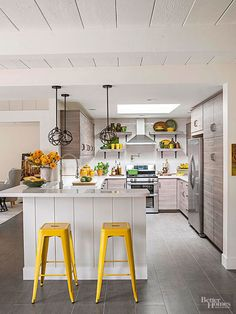 With plenty of colorful options on the market, we'd be remiss not to mention barstools as an easy way to add color to your kitchen. Pick up a few accessories in a matching color and you have the makings of a mini-facelift.
