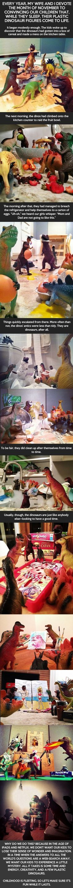 While Their Kids Sleep, These Parents Pull Off This Amazing Stunt: Plastic Dinosaur Figures Come to Life. haha that's fun Haha, Wow Art, Random Stuff, Cool Stuff, Funny Stuff, Kid Stuff, Funny Things, Kids Sleep, To Infinity And Beyond