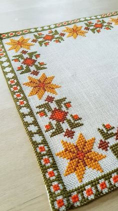 image 0 Broderie et Couture Beautiful autumn cross stitch embroidered tablecloth in white linen from Sweden Cross Stitch Borders, Cross Stitch Flowers, Cross Stitch Designs, Cross Stitching, Cross Stitch Embroidery, Cross Stitch Patterns, Hand Embroidery Designs, Embroidery Patterns, Palestinian Embroidery