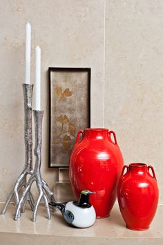 China Red Tang vases by Ben Owen III, Enchanted Forest candleholders by Michael Aram, Ginko Tray by J. Fleet, Magpie glass bird by Oiva Toikka Furniture Inspiration, Design Inspiration, Modern Shop, Candleholders, Glass Birds, Colour Palettes, Magpie, 30 Years, Gift Baskets