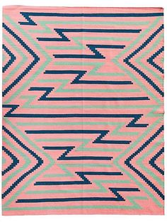 Flamingo Flatweave Southwestern Motif Rug 8' x 10' on Chairish.com