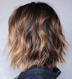 Shaggy Brown Balayage Bob