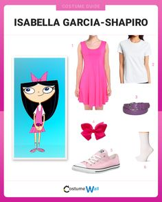 Dress up as Isabella Garcia-Shapiro from Phineas and Ferb and you'll be everyone's favorite Fireside Girl next door. Cartoon Halloween Costumes, Cute Costumes, Family Halloween Costumes, Girl Costumes, Halloween Couples, Group Costumes, Halloween Halloween, Costume Ideas, Phineas And Ferb Costume