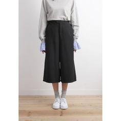 High Waist Wide Leg Crop Trousers