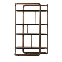 This striking bookcase bears a distinctly modern allure, thanks to its geometric surfaces, made delicate by the round corners at top and bottom. The structure is made entirely in solid walnut wood with four walnut wood shelves placed at different heights to create a dynamic effect. The shelves have edges upholstered in elegant leather that create a sophisticated contrast with the texture of the wood and make this piece a precious addition to any living room.