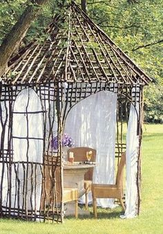 """Cool gazebo #garden #outside #summer   This is another project that is just too cool and costs """"nothing!!!!""""  WOW. Diy Gazebo, Gazebo Canopy, Gazebo Ideas, Arbors, Pergolas, Twig Furniture, Furniture Chairs, Garden Furniture, Kids Furniture"""