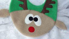 Reindeer Bib Infant Baby Bib  Animal Fleece Bib by DinkyDimples