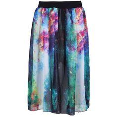 Multi Elastic Waist Galaxy Print Skirt ❤ liked on Polyvore featuring skirts, blue skirt, galaxy skirts, elastic waistband skirt, cosmic skirt and galaxy print skirt