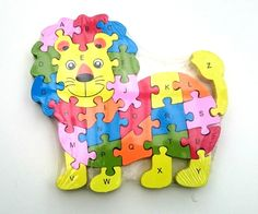 Wooden lion jigsaw/puzzle with numbers and letters,colorful educational toy | eBay