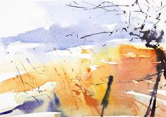 Winter Field. Semi abstract expressive watercolour landscape by Adrian Homersham