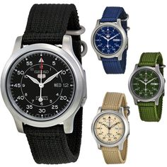 Seiko 5 Canvas Strap Automatic Stainless Steel Mens Watch | eBay