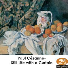 [Paul Cezanne - art print, poster - Still Life with Curtain and Jug (aka Apples and Peaches)] Cezanne Art, Paul Cezanne Paintings, Aix En Provence, Cezanne Still Life, Oil Painting Reproductions, Impressionism Art, Renoir, Canvas Art Prints, Still Life With Apples