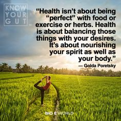 """Health isn't about being ""perfect"" with food or exercise or herbs. Health is about balancing those things with your desires. It's about nourishing your spirit as well as your body."" ― Golda Poretsky"