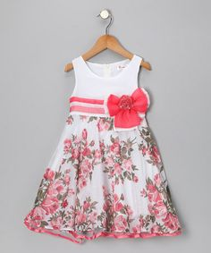 Take a look at this Bonny Billy Coral Rose Bow Dress by Bonny Billy on #zulily today!