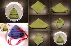 Christmas Tree Napkin Folding Tutorial
