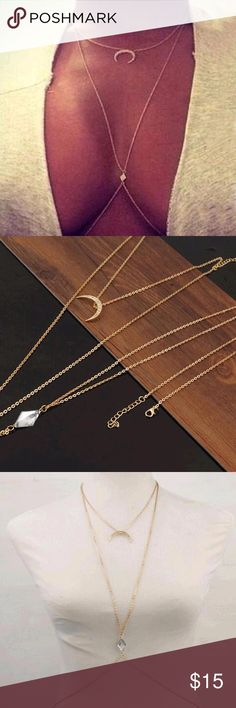 New Sexy Gold Moon Body Chain Brand new boutique item! Features lovely Moon Pendant and faux diamond pendant. Beautiful and sexy. Jewelry Necklaces