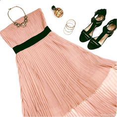 Strapless Blush Pastel Pleated Dress