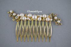 Braut Haarkamm Gold Äste Elfenbein oder weiße von Element4you