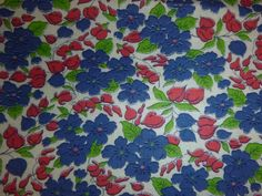 """Vtg Cotton Fabric Red Blue Green Floral 39"""" x 43"""""""