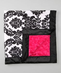 Black & Hot Pink Damask Stroller Blanket