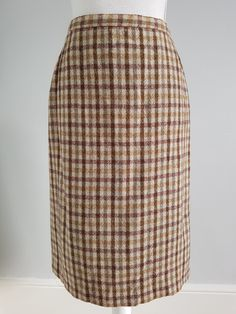 Vintage brown tweed midi skirt | Yeah Yeah Retro