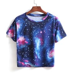 SheIn(sheinside) Blue Short Sleeve Galaxy Print Crop T-Shirt featuring polyvore…
