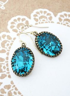 Indicolite Blue Crystal Earrings GOLD FILLED Ear wires, Brass Adjustable Swarovski Crystal Oval Bridal Bridesmaid Wedding Vintage Earrings, by GlitzAndLove, www.glitzandlove.com