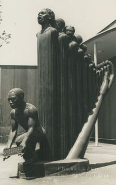 """The organizing committee of the 1939 New York World's Fair commissioned Augusta Savage's 16-foot-tall painted plaster sculpture, Lift Every Voice and Sing, to be displayed on the fairgrounds. Savage titled the piece after James Weldon and Rosamund Johnson's song of the same name, a song so important in African-American communities that it was often called the """"National Negro Anthem."""""""
