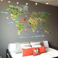 Mapa mundi de dibujos - Vinilos decorativos de pared