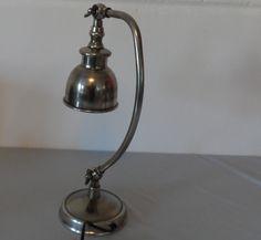 Vintage Tischlampen - Industrie-Schreibtischlampe, Messing versilbert, - ein…