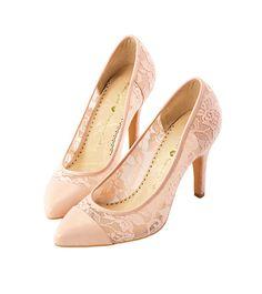 Grace giftGrace gift 官方購物網站 - 鏤空蕾絲拼接尖頭高跟鞋