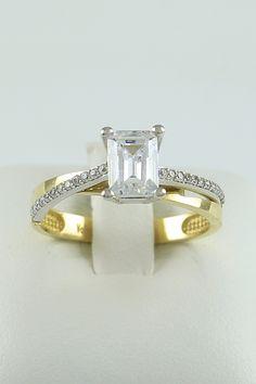 Δίχρωμο μονόπετρο δαχτυλίδι, χρυσό & λευκόχρυσο, 14 καράτια, Κωδικός WGD020