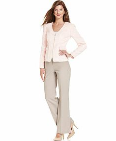 Anne Klein Zip-Front Tweed Jacket & Tropical-Wool-Blend Pants