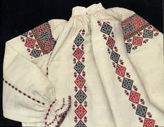 Eastern Podolian embroidered shirt (a part of traditional Ukrainian costume). Folk Embroidery, Types Of Embroidery, Embroidery Designs, Folk Costume, Costumes, Folk Clothing, Traditional Outfits, Men Sweater, Clothes
