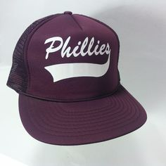 VINTAGE Phillies Baseball Mesh Snap-back Hat Cap Maroon NICE SHAPE! 1-Size Adult #Speedway #Phillies