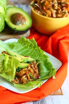 Crock Pot Tex-Mex Chicken Lettuce Wraps.... With Avocado of course!