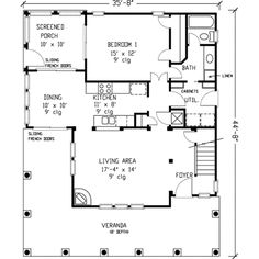 Farmhouse Style House Plan - 3 Beds 2 Baths 1442 Sq/Ft Plan #410-123 Main Floor Plan - Houseplans.com (utility room / mudroom, wrap around porch)