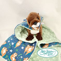 """Unique baby lovey with stuffed otter and his very own minky and flannel """"cape""""  Let this be your new superhero to help calm your little one  great baby gift that easily transitions to toddler security blanket! Flannel Blanket, Lovey Blanket, Best Toddler Gifts, Baby Christmas Gifts, Baby Lovey, Security Blanket, Baby Boy Gifts, Plush Animals, Unique Baby"""