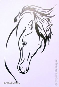 Horse head to the right? Horse Head, Horse Art, Horse Drawings, Art Drawings, Kirigami, Horse Stencil, Wood Burning Patterns, Scroll Saw Patterns, Stencil Designs