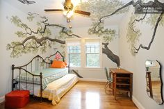 Oak tree mural in a guest room with trundle bed in Austin.