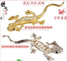 G&L 2014 New Hot Fashion 3D Stereo LUX Metal Crystal Diamond Gecko Gecco Car Sticker Emblem Badge Gold Silver (2pcs/lot) 3M DIY Free Ship $6.89