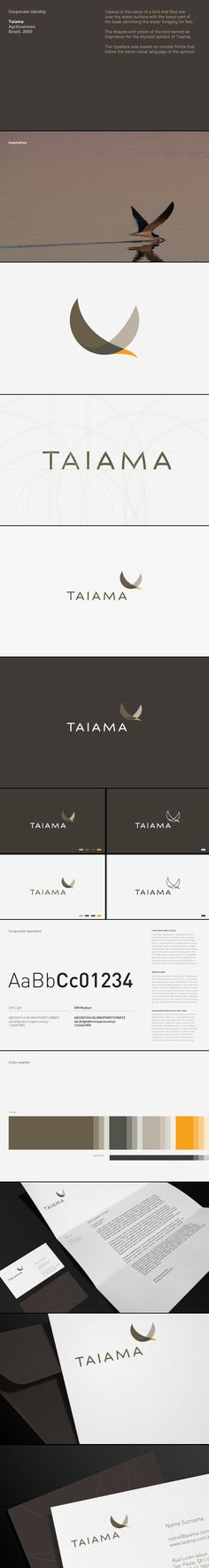 Taiama Logo Design by Roger Oddone of SF, CA. Elegance in ornithology for this agribusiness client in Brazil.