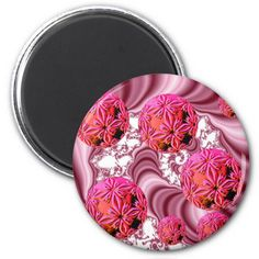 Raspberry Pink Vision, Abstract Snow Flakes Refrigerator Magnet