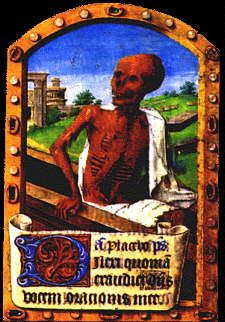 Death, Book of Hours,  Latin and French, Use of Paris [Paris, c. 1485-1500].  Fol. 149, Office of the Dead, Prayers  and Suffrages to Saints