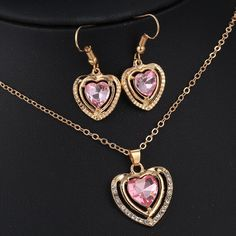 3 Kinds Crystal Love Heart Pendant Necklace Earrings for Women