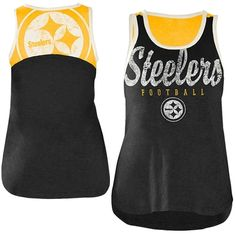 Pittsburgh Steelers Ladies National Title Tank Top - Black/Gold