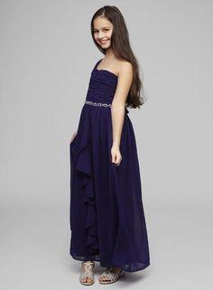 Teen Bridesmaid One Shoulder Grape Long Dress